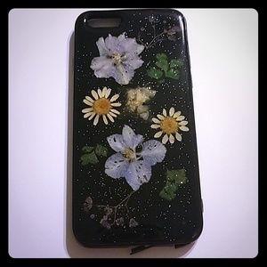 💕Free gift iphone 6 case glitter flower black
